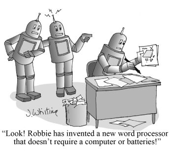 RobotWordProcessorCartoon