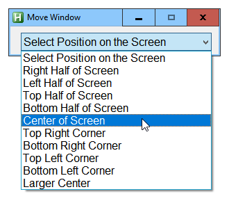 MoveWindow DropDownList