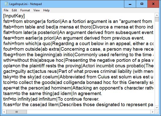 LegalInput INI File